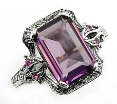 6CT Amethyst & Sapphire 925 Sterling Silver Filigree Ring Jewelry Sz 6, ... - $29.69