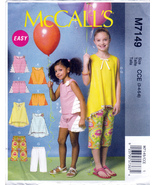 McCall's M7149 Girls Tops Tunics Capris Childrens Sewing Pattern Sizes 3... - $6.95