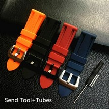 22 24 26mm Black Orange Blue Red Silicone Rubber For Panerai PAM111 Watchbands - $26.05+