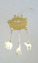 """Noah's Arc with Animals Christmas Tree Ornament Vintage Brass Thin 6"""" Long - $12.69"""