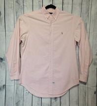 Ralph Lauren Shirt 16 35 XL Pink White Striped Pony Logo Button Front L/... - $13.99