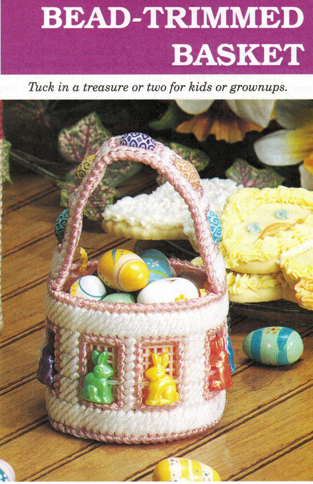 Plastic Canvas Easter Pussycat Cat Basket Bunny Candy Dish Doorstop PATTERN