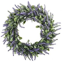 "GTidea 16"" Artificial Lavender Wreaths Flowers Arrangements Front Door Wall Home"