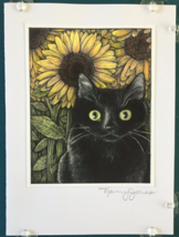 Cat Art Notecard - Black Cat with Sunflowers - $4.50