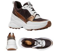 Michael Kors Women's Mickey Trainer Tech Canvas Casual Chocolate Sneaker... - $169.95