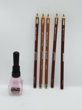 Makeup Lip & Nail Kit Jordana Lip Liner 5 Full Sticks, 1 Bottle Pink Polish - $11.30