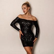 Brand Designer Designer Off Shoulder Matching Beaded Sequin Party Dress in 3 Col image 4