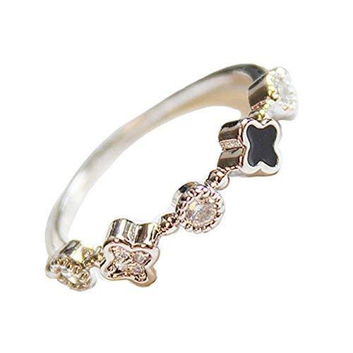Concise Style Clover Diamond Ring Simple Wild Fashion Unique Ladies Accessories