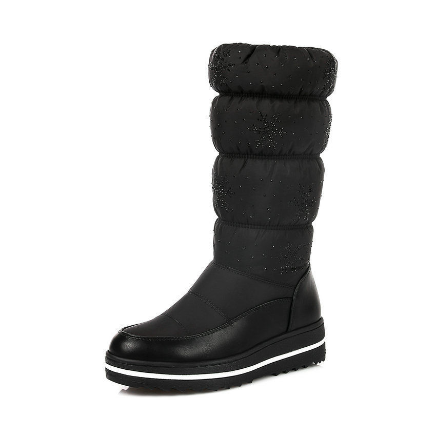 Women Snow Boots Winter Warm Shoes Flat Fur Ladies Ankle Lined With Stitches Mid