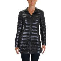 Aqua Damen Schwarz Puffer Verpackbar Fall / Wintermantel Jacke Größe S Neu W image 3
