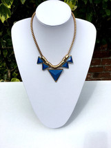 Colourful Necklace; Indian Jewellery, Golden, Metal, Blue and Yellow Nec... - $6.59