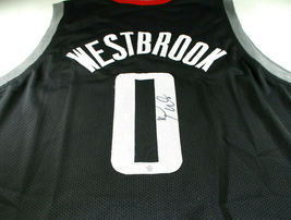 RUSSELL WESTBROOK / AUTOGRAPHED HOUSTON ROCKETS BLACK CUSTOM JERSEY / COA - £136.11 GBP
