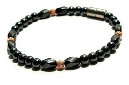Beaded Bracelet Magnetic Hematite Clasp Single Strand   7.5 Inch   (MAG-025)