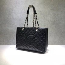 BRAND NEW AUTH CHANEL QUILTED CAVIAR GST GRAND SHOPPING TOTE BAG SHW  image 4