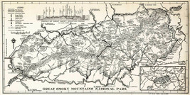 Mid-Century Map Great Smoky Mountains National Park Wall Art Poster Print Decor - $13.00+