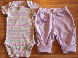 Girl's Size NB Newborn 2 Pc Carter's Pastel Striped Top, Purple Pants + Hair Bow - $7.25