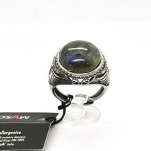 925 Silver Ring Brown Burnt Labradorite & Marcasite Made in Italy by Maschia image 5