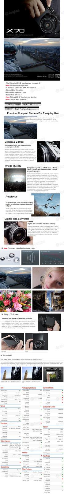 FUJIFILM Fujifilm X70 Compact Camera / Touch Screen / Hybrid AF / WIFI / Full HD