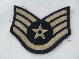 WWII US Air Force Staff Sergeant Patch Chevron Blue/Silver 4 Stripes 1 Star - $9.00