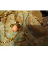 Vintage 12K Gold Filled Speidel Necklace 10K Angel Skin Coral green Jade... - $40.00