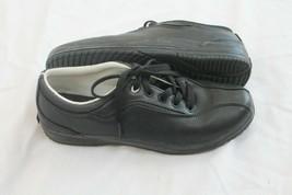 Keds US Sz 8 EU Sz 39 Womens  Black Leather Solid Lace Up Bicycle Toe Sn... - $29.70