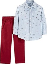 Carter's Baby Boys Happy Little Guy Button Down Pants Set 9 Months Blue/red - $20.86