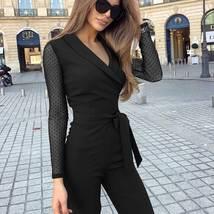 Women's Long Sleeve Mesh Polka Dots Solid Jumpsuit V Neck Wide Leg Pants image 6