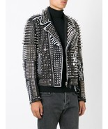 New Men's Handmade Silver Studded Leather Jacket Black White Contrast Lo... - $299.99