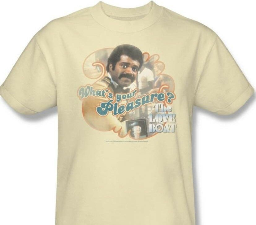 The Love Boat T-shirt Issac the Bartender CBS287 70s retro beige graphic tee