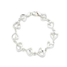 CHIC 925 Sterling Silver Heart Shaped Link Cubic Zirconia Bracelet BNIB - $102.74