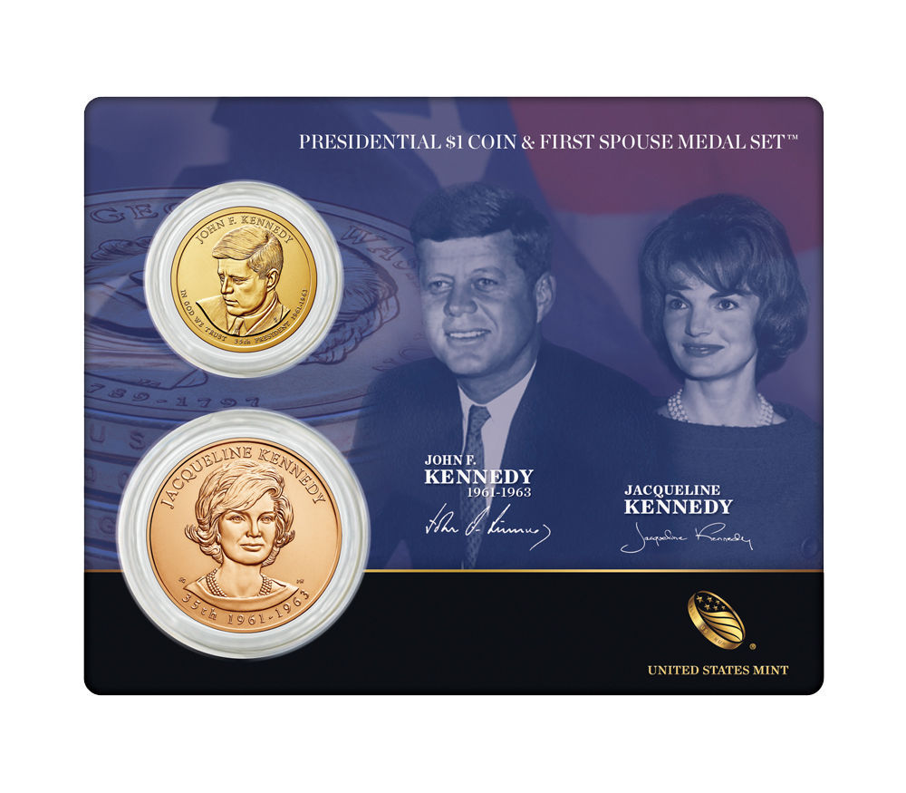 2015 US Mint John F. Kennedy Presidential $1 Dollar Coin & 1st Spouse Medal Set