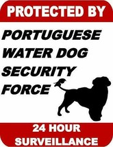 Protected by Portuguese Water Dog Dog Security Force 24 Hour Dog Sign SP... - $7.87