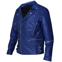 Jared Leto 30 Seconds to Mars Blue Motorcycle Synthetic Leather Jacket image 3