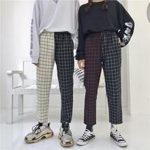 Harajuku Pants Patchwork Plaid Pant Drawstring Elastic Waist Straight Tr... - $33.60