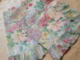 Vtg Cannon King Pillow Shams Ruffled Blue Pink Lavender Mint Floral USA ... - $19.80