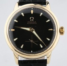 Omega Ω Vintage Men's 14k Yellow Gold Automatic Watch w/ Black Leather Strap - $1,979.99