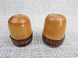 """Pair all wood salt & pepper shakers 2 tone tan/brown 2 1/4"""" - £3.34 GBP"""