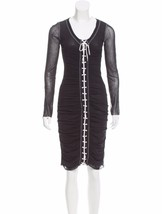 SEXY, UBER FLATTERING NEW JEAN PAUL GAULTIER MESH DRESS WITH WHITE LACE ... - $595.00