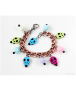 Day of the Dead Charm Bracelet, Colorful, Skulls, Roses, Handmade Jewelry - $17.00
