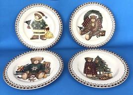 Debbie Mumm Sakura CHRISTMAS BEARS Dessert Salad Plates Vintage 1998 New... - $19.95