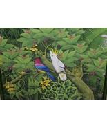 Huge Hand painted Framed Original Canvas Signed Art Jungle Parrots Birds... - $664.99