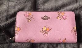 Coach Accordion Zip Wallet With Cross Stitch Floral Print LilyCross Stit... - $154.79