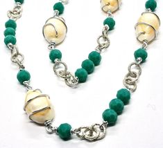 NECKLACE THE ALUMINIUM LONG 90 CM WITH SHELL AND CRYSTALS STRASS GREEN image 6
