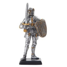 """Doll House Miniature 5"""" Medieval Knight Sword And Shield Figurine Suit Of Armor - $16.99"""