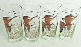 Canadian Geese Goose Glasses Tumblers Mid Century Set of 4 Libbey Vintage - $26.72