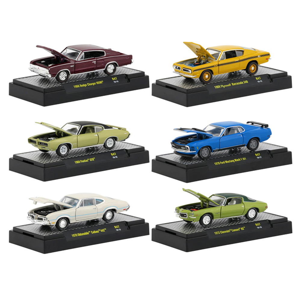 Detroit Muscle Release 47, Set of 6 Cars IN DISPLAY CASES 1/64 Diecast Model Car