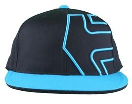 Etnies Chevy 210 Fitted Flex Fit Black Cyan Blue Hat Size: L/XL image 2