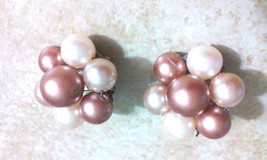 Vintage Signed Japan Faux Pearl  Chocolate Flower Cluster Bead Clip On E... - $2.85