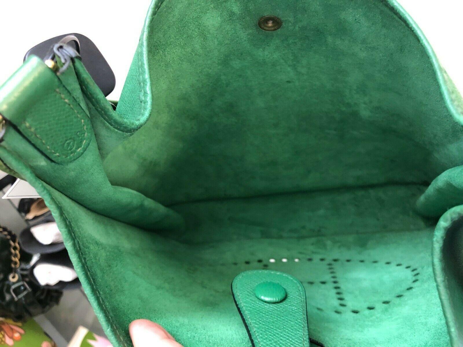 """HERMES Green Classic """"EVELYNE GM"""" Leather Tote/Shoulder Bag $$$$ image 6"""