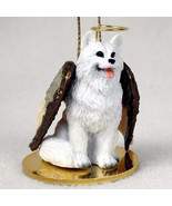 AMERICAN ESKIMO ANGEL DOG CHRISTMAS ORNAMENT HOLIDAY  Figurine Statue - $12.98